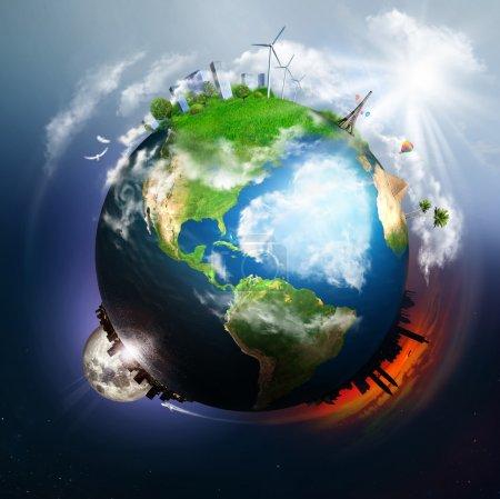 Photo pour Terre avec différents éléments à sa surface et grand cœur de nuages à l'océan - image libre de droit