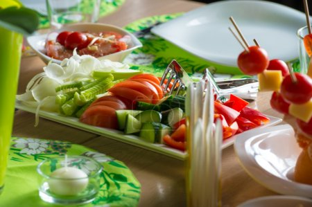 Photo for Vegetables on table at cafe. Salad ingredient - Royalty Free Image