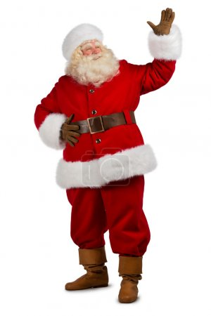 Photo for Santa Claus gesturing his hand isolated over white background. Presenting something - Royalty Free Image