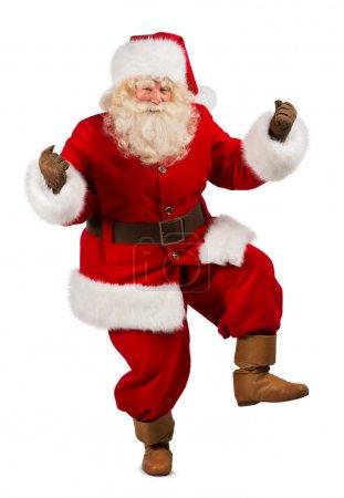 Photo pour Joyeux Noël Père Noël danse. Isolé sur fond blanc. Longueur totale - image libre de droit