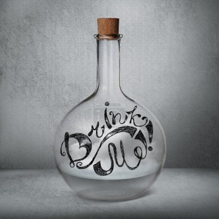 Glass bottle with liquid and vapor standing inside gray box.