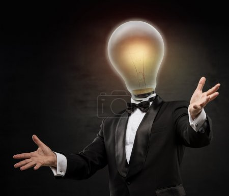Businessman with lamp head