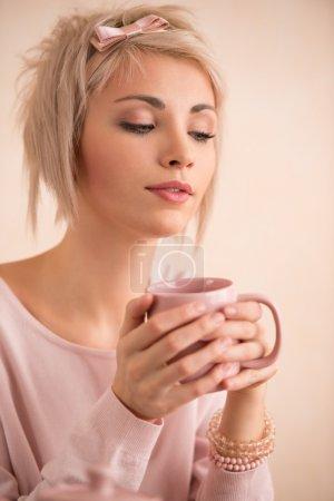 Woman having tea-party
