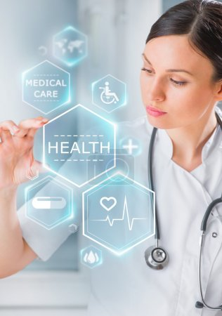 Doctor working with healthcare icons