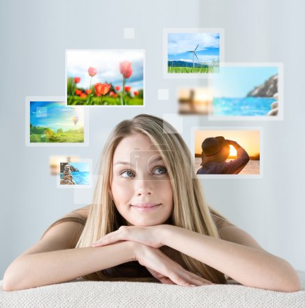 woman with travel vacation memories
