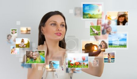 woman sharing her photo and video files