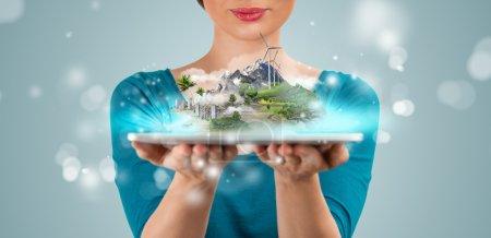 Unrecognizable woman presenting her virtual architectural project