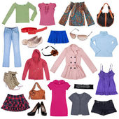 Different female clothes, shoes and accessories
