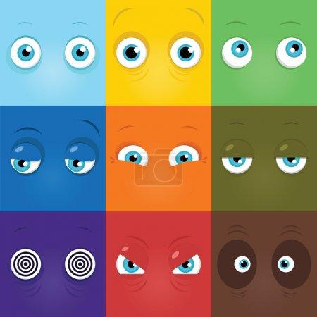 Set of funny cartoon monster eyes...
