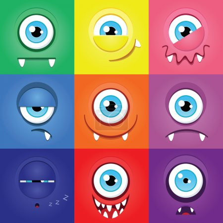 Illustration for Set of funny cartoon expression monsters - Royalty Free Image
