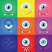 Set of funny cartoon expression monsters