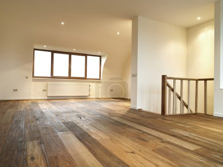 Photo for Modern interior with wooden floor, there is a path for windows - Royalty Free Image