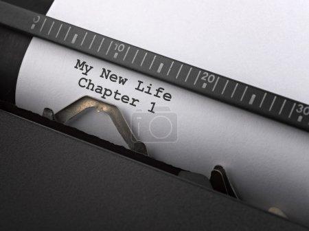 """""""Mon nouveau message de vie """"tapé par machine à écrire vintage ."""