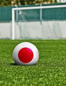 Fotbalový míč s příznakem Japonska na trávě stadionu