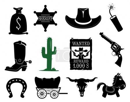 Photo pour Collection d'icônes de Far west - image libre de droit