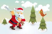 Christmas card with Santa Claus Hunter