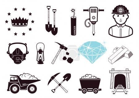 Photo for Mining tools, gold bars and gem. Icons set. - Royalty Free Image