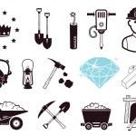 Mining tools, gold bars and gem. Icons set....
