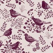 Garden with bird seamless pattern