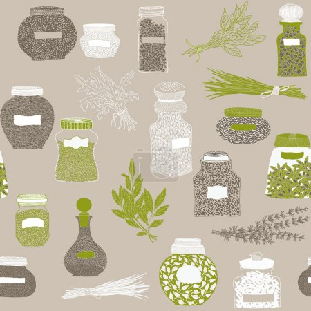 Illustration for Glass bottles full of different species - Royalty Free Image