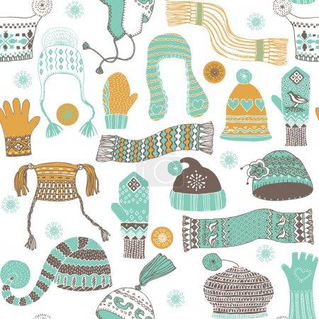 Seamless pattern of winter woollies