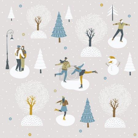 Ice skaters enjoying the winter festive season