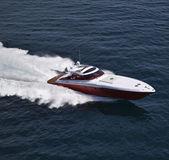 Italy, off the coast of Naples, Azzurra luxury yacht (boatyard: Cantieri di Baia), aerial view