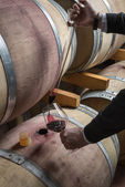 Italy, Sicily, red wine pouring from a wooden barrel into a glass in a wine cellar