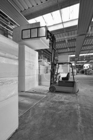 Foam rubber shapes in a foam rubber factory