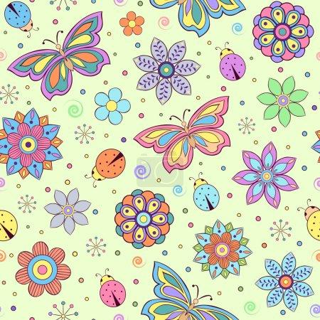 Ilustración de Ilustración vectorial de patrones sin fisuras con flores de colores abstractas, mariposas y mariquitas - Imagen libre de derechos