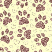 Seamless pattern with floral animal paw print