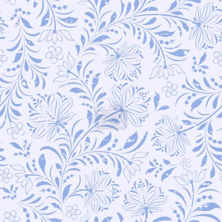 Illustration for Vector illustration of seamless pattern with abstract flowers.Floral background - Royalty Free Image