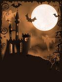 Spooky Halloween castle vector background