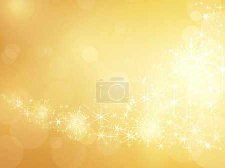 Golden sparkling star and snowflake border