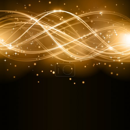 Illustration for Overlaying golden wavy lines forming an abstract pattern with light effects on a dark background. With stars and space for your copy. EPS10 - Royalty Free Image
