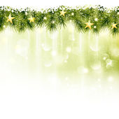 Golden stars in a border of fir twigs on a soft golden green background with blurry lights light effects and snowfall Festive and wintry great background for any Christmas or winter theme