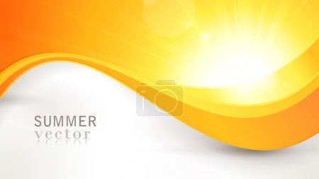 Illustration for Summer background with a magnificent vector sun burst with lens flare and wavy lines pattern in bright orange and yellow colors. - Royalty Free Image