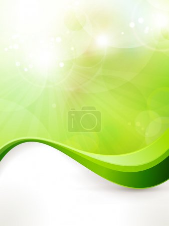Illustration for Light green vector background with blurred lights, light effects, sun burst and wave pattern. Great spring or green environmental background. Space for your text. EPS1 - Royalty Free Image