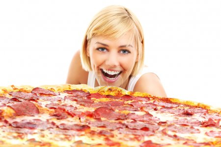 Happy woman with pizza