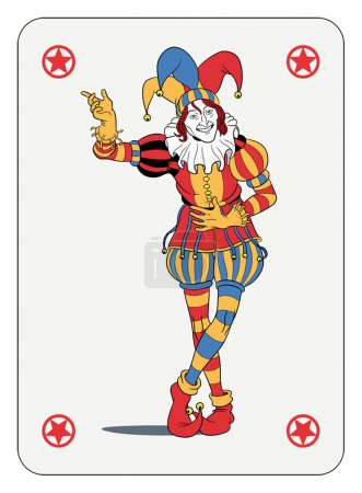 Illustration for Joker in colorful costume playing card - Royalty Free Image