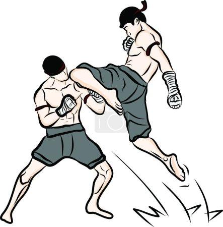 Hand drawn Thai martial arts