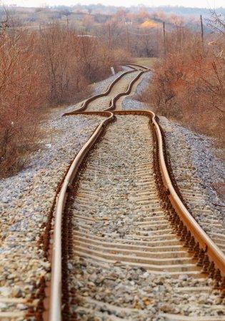 Detail of railway railroad tracks