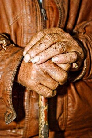 Old wrinkled hands