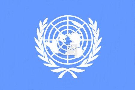 Photo pour Drapeau des nations Unies, dessin de pastel sur papier au charbon - image libre de droit