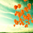 3d image of balloons outdoor background....