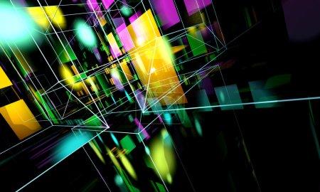 Photo pour Contexte technologique abstrait, formes carrées et formes géométriques - image libre de droit