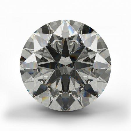 Top view of round diamond. Beautiful sparkling dia...