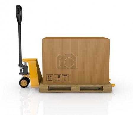 Photo for One pallet truck or forklift with a carton box (3d render) - Royalty Free Image