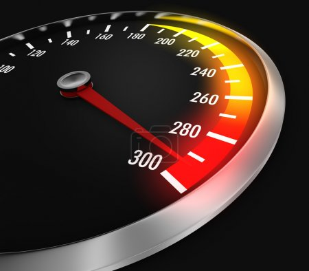 Foto de Speedometer with needle near the max (3d render) - Imagen libre de derechos