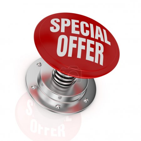Photo pour One push-button with the text: special offer (3d render) - image libre de droit